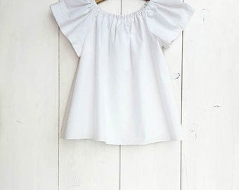 Baby white cotton blouse, baby cotton shirt, toddler blouse, girls blouse, newborn - size 5T