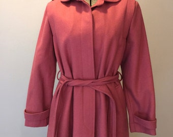 Womens Wool Coat 60s Pink Small