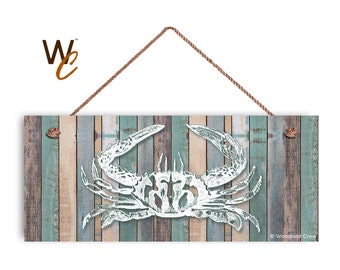 """Crab Sign, Beach Weathered Wood, Weatherproof, 6""""x14"""", Rustic Signs, Housewarming Gift, Under The Sea Sign, Made to Order"""