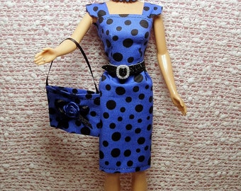 Barbie Doll Clothes - Handmade Blue Polka Dot Sheath Dress, Purse, Necklace, Belt and Shoes. CHOOSE: Dress only or Dress with accessories.