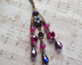 Rhinestone Pendant, Romantic Pendant, Vintage Look, Victorian Pendant, Victorian Necklace