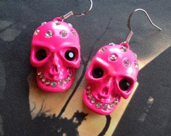 Halloween Jewelry, Halloween Earrings,Pink Metal Skull Earrings, Sugar Skull Earrings