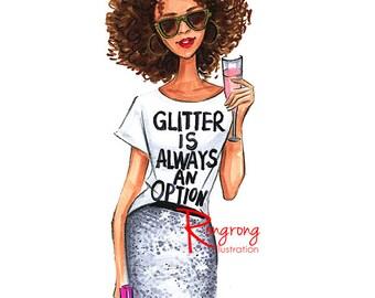 Afro fashion sketch, Fashion art,Fashion illustration,Chic wall art, Fashion print,fashion poster,Titled,Glitter always an option