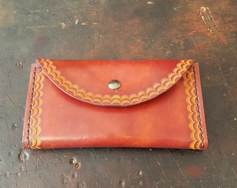 Handcrafted Tooled Leather Women's Wallet in Red