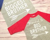 Promoted To Big Brother & Biggest Brother baseball brother shirts, pregnancy announcement shirts, shirts for brothers, announcement shirts