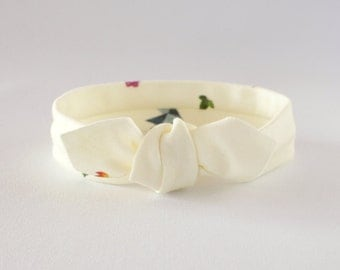 Baby Headband Organic Cotton Knit / Watercolor Floral Cream Knotted Headband / Baby Topknot / Toddler Headband