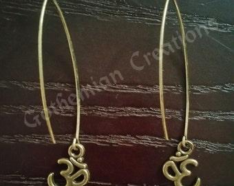 """Buddhist Zen Yoga Ohm Threader Earrings Vintage Bronze Minimalist Boho Earrings """"Om"""" Jewelry"""