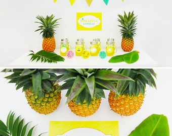 Pineapple Party Decorations, Props, Tropical Party, Hawaiian Luau, Summer Party, Printable | INSTANT DOWNLOAD
