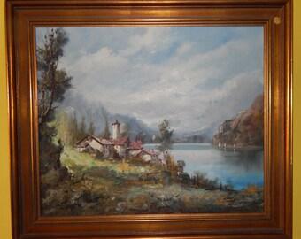 Carlo Mancini 19th Century Oil Painting on Canvas Mountain Scene