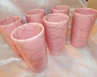 1950'S Set (6) Pink Black Spaghetti String Drizzle Ceramic Tumblers