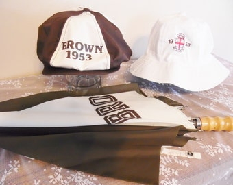 Antique Brown University 1953 Hats and Umbrella Rare College Collectibles Bucket Hat Ascot Flat Cap Booney Hat Ivy League Collectibles