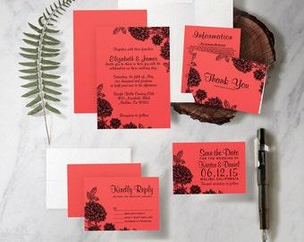 Elegant Red and Black Wedding Invitation Set/Suite, Printed/Printable Wedding Invitations/Invites,Save the date, Thank You Cards,Digital/PDF
