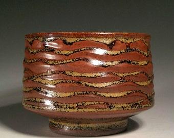 Wave Ribbing with Tenmoku Gold Glaze