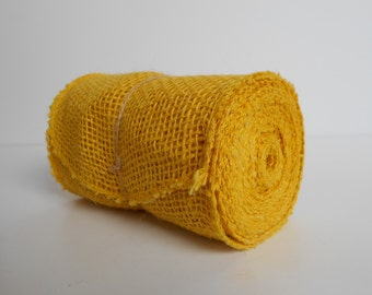 "Yellow BURLAP JUTE Mesh Ribbon Roll, Yellow, 5.5"" x 15',  5 yds of 100% Jute Yellow Burlap Ribbon"