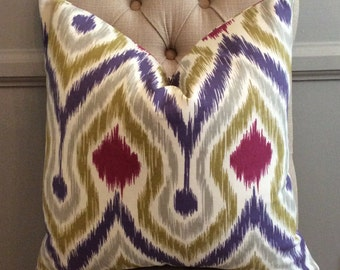 Handmade Decorative Pillow Cover - Covington Zarina Orchid - Ikat - Purple - Green - Grey - Pink