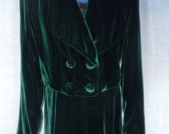 Small GREEN SILK VELVET Two piece Skirt and Jacket by Simplicity L.A.