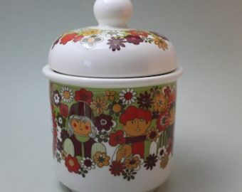 """RARE Figgjo Flint """"Folklore"""" Canister or Jam Pot with Lid"""