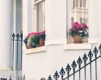 London Photography, Notting Hill, Windows, Flowers, Townhouse, Wall Art Print, Pink, Pale Blue, pastel, cream, neutral decor