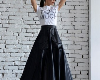 High Waist Black and White Skirt / Long Maxi Skirt / Pocket