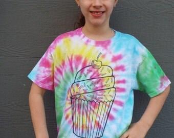 Custom Birthday Shirt, Kids Birthday TShirt, Cupcake Shirt, Personalized Kids Tshirt, Cupcake Tshirt, Name Tshirt, Age Tshirt, Kids Tie Dye