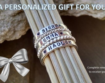 Stackable Mother's Name Rings GIFT CARD for Sterling Silver Personalized Set of FIVE