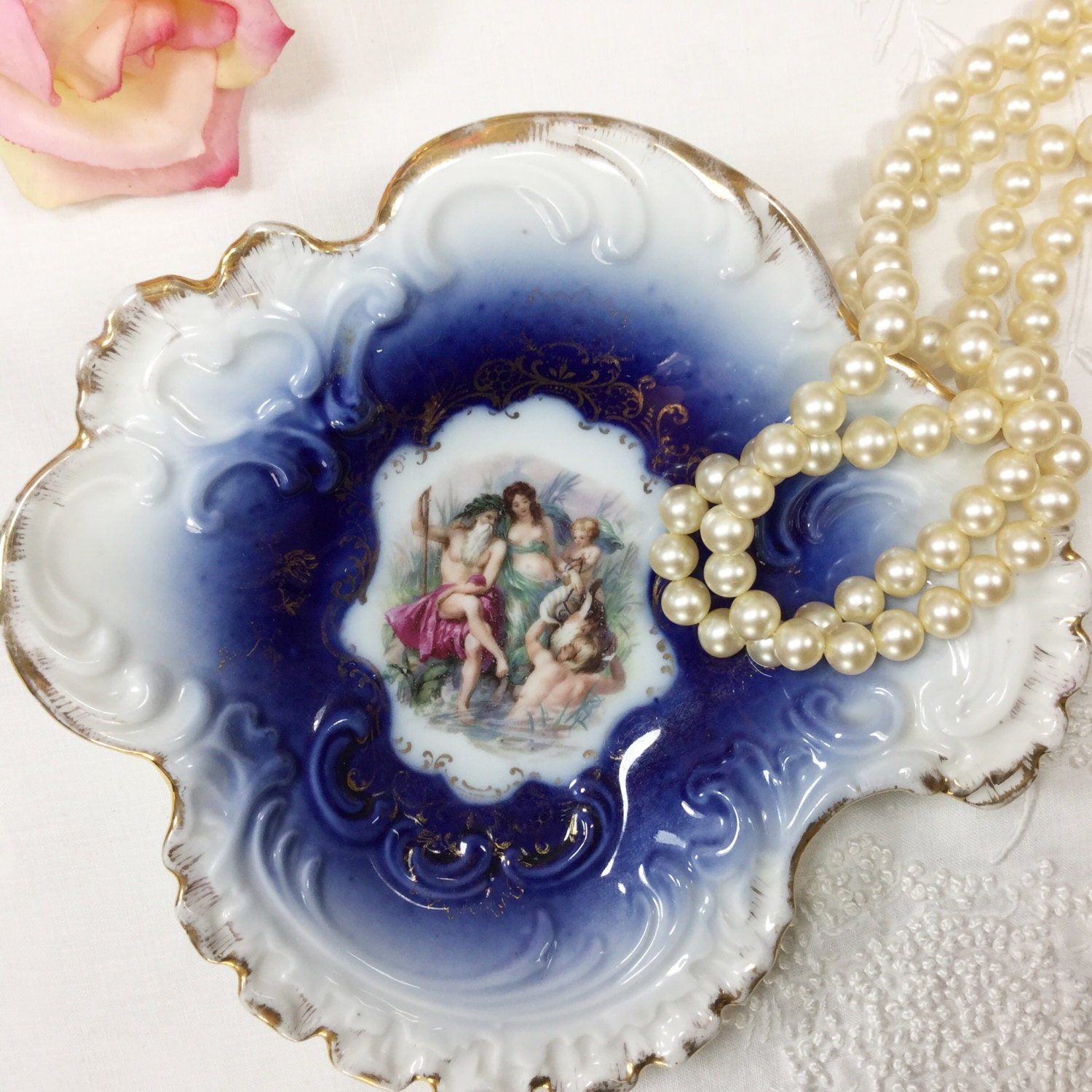 German Wedding Gift Ideas: Vintage P.M Bavaria Cobalt Blue Portrait Gold Gilt German