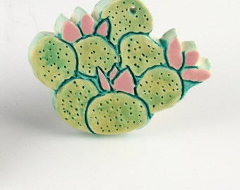 Southwest Prickly Pear Cactus Ornament, Clay Desert Art by Arizona Artist, Karlene Voepel.  Sold individually.