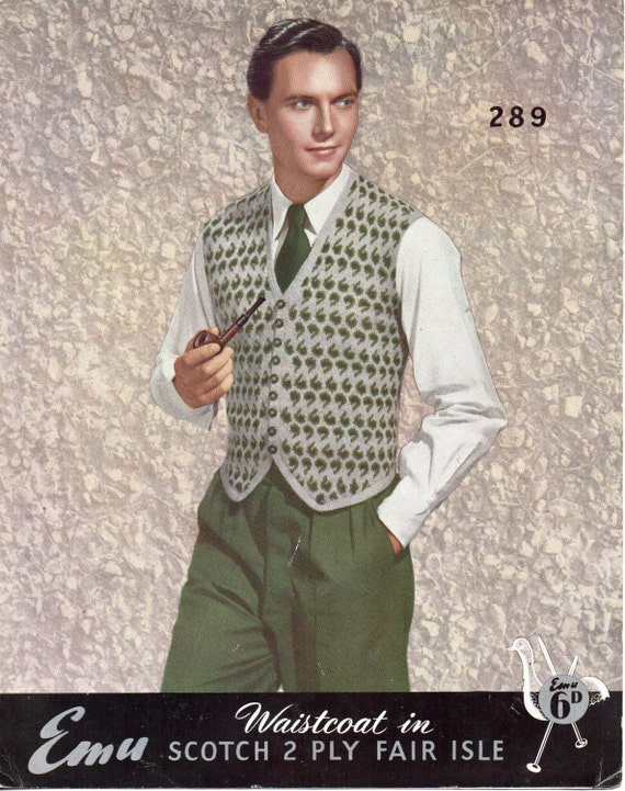 Vintage Mens Fair Isle Waistcoat knitting pattern PDF 4ply fair ...