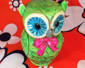 Vintage Chalkware Owl Bank, Neon Green, Pink Bowtie, Coin Bank, Saving, Kawaii, Cute, Lime, Kitch, Groovy, Collectible, Figurine