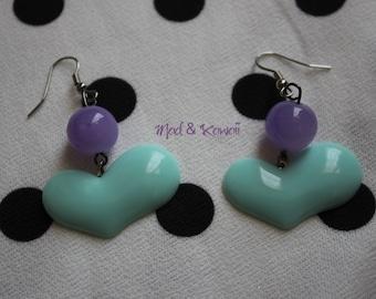 Heart mint earrings