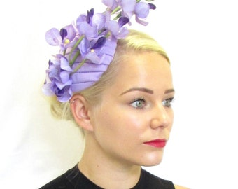 Lilac Light Purple Orchid Flower Fascinator Vtg Races Rockabilly 1950s Hair 589
