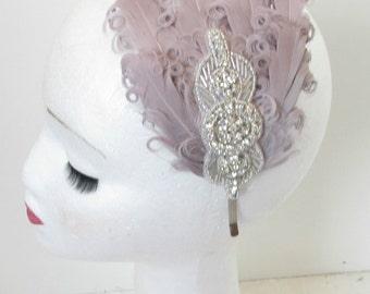 Grey & Silver Diamante Rhinestone Feather Dress Headpiece Flapper 1920s Headband Headdress Beaded Charleston Prom Great Gatsby N75