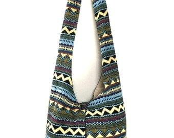 Blue Aztec Crossbody Purse - Tribal inspired,  Cute Hobo Sling bag, Womens Shoulder Bag, Sac Hippie bag purse, Handtaschen, Vegan bag