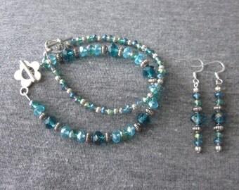 Teal & Aqua 3 Piece Bracelet Set with Earrings; Handmade