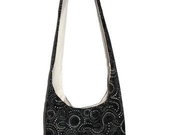 Hobo Bag Purse, Black and Cream Hobo, Slouchy Hobo Bag, Large Hobo Purse, Black Batik Fabric Bag, Gift for Her, Black and White Hobo Bag