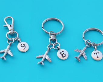AIRPLANE Keyring,Zipper Pull,Purse Dangle,Initial or Number,airplane,pilot,flight attendant,plane,travel,stewardess,airline,flight,fly,19