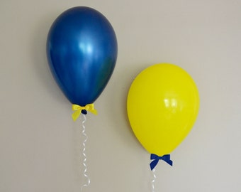 """11"""" Maize Yellow & Navy Blue Balloon + Bow Set - 6 Pack // Graduation Party Decor // Birthday and Wedding Balloons"""
