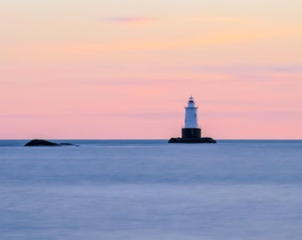 Sakonnet Lighthouse ~Panoramic, Sakonnet Point, Little Compton, Rhode Island, Coastal Home Decor, Beach Photography, Ocean, Joules, Wall Art