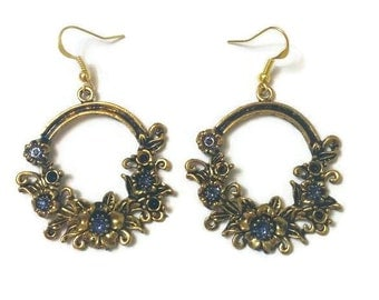Gold Flower Earrings, Flower Earrings, Gold Statement Earrings, Vintage Gold Earrings, Antique Gold Earrings, Girlfriend Gift Idea, Giftt