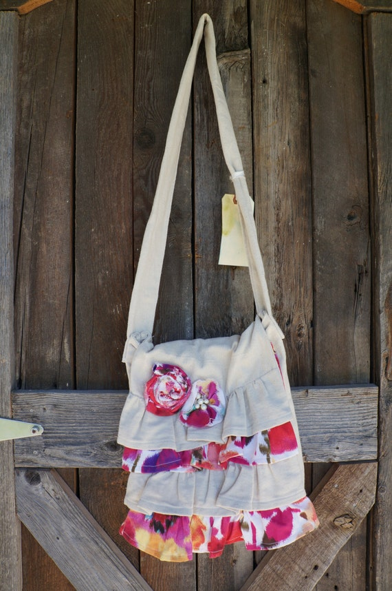 Bright Floral Ruffled Canvas Messenger/Crossbody Bag