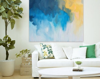 """Large abstract painting print canvas, pink, yellow, orange ABSTRACT GICLEE PRINT of original abstract art Painting """"Plethora"""" Fine art print"""