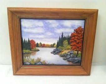 Small Vintage Framed OIL PAINTING Pond River Trees Signed Stobenow Landscape
