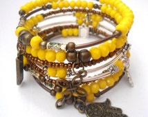 New beginnings gift jewelry Energy happiness bracelet present Yellow charm arm party candy Trendy mix metal braclet  Self-confidence gift