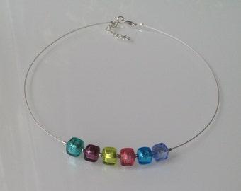 Rainbow Necklace with Murano Glass in Silver. Multi-Color Venetian Glass Necklace. Multicolour Modern Colorful Choker Murano Glass. Bijoux