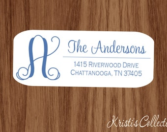 Family Return Address Labels Stickers with Initial - Custom Personalized Family Return Address Shipping Mailing Label Sticker