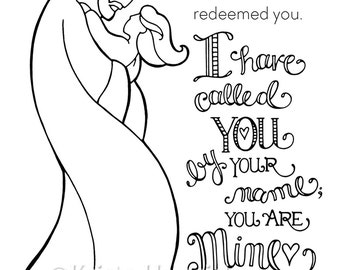 I Have Called You By Name Girl Coloring Page 85X11 Bible Journaling Tip