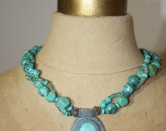Turquoise & Apatite Bead Embroidered Necklace