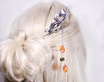 gift/for/girlfriend orange hair jewelry gift/for/her metal hair stick green gift/for/daughter fox jewelry for hair accessory gift mom шв10