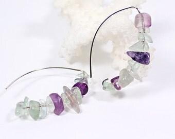 cluster earrings gemstone earrings boho earrings statement earrings purple green jewelry gift earrings fluorite jewelry summer earrings ї02