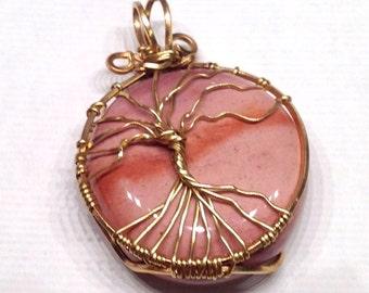 Moukaite Tree of Life Pendant, Bronze Tree of Life, Mookaite Pendant, Moukaite Pendant, Moukaite Moon, Bronze Pendant, Pink Gemstone Pendant